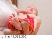 Ножки новорождённого ребёнка. Стоковое фото, фотограф Костырина Елена / Фотобанк Лори