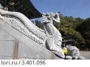 Купить «Каменный дракон на ступенях буддистского храма Ёнгхваса. Сеул. Южная Корея.», фото № 3401096, снято 18 октября 2009 г. (c) Ольга Липунова / Фотобанк Лори