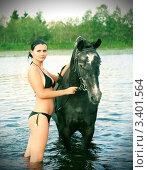 Купить «Купание девушки с лошадью», фото № 3401564, снято 2 июня 2020 г. (c) Александр Fanfo / Фотобанк Лори