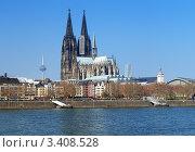 Купить «Вид на Кёльнский собор с берега Рейна, Германия», фото № 3408528, снято 15 марта 2012 г. (c) Михаил Марковский / Фотобанк Лори