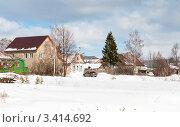 Купить «Деревенский пейзаж зимой», эксклюзивное фото № 3414692, снято 14 марта 2012 г. (c) Игорь Низов / Фотобанк Лори