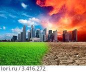 Апокалипсис надвигается на современный город с небоскребами. Стоковое фото, фотограф Дмитрий Рухленко / Фотобанк Лори
