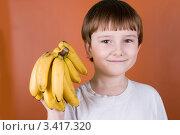 Купить «Радостный мальчик со связкой бананов», фото № 3417320, снято 22 марта 2012 г. (c) Елена Блохина / Фотобанк Лори