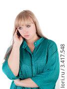 Купить «Портрет девушки с мобильным телефоном», фото № 3417548, снято 30 декабря 2011 г. (c) lanych / Фотобанк Лори