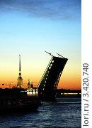 Белая ночь над Невой. Вид на поднятый Дворцовый мост и Петропавловскую крепость. Санкт-Петербург. (2009 год). Стоковое фото, фотограф Светлана Кудрина / Фотобанк Лори