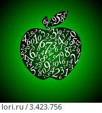 Купить «Цифры в абрисе яблока на зелёном градиентном фоне», иллюстрация № 3423756 (c) Руслан Гречка / Фотобанк Лори