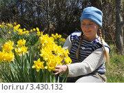 Купить «Девушка на даче любуется желтыми нарциссами», эксклюзивное фото № 3430132, снято 1 апреля 2012 г. (c) Анна Мартынова / Фотобанк Лори