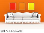 Современный светлый диван с подушками на фоне оранжевой стены с рамками. Стоковая иллюстрация, иллюстратор Jalin / Фотобанк Лори