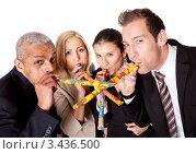 Купить «Деловая команда празднует день рождения», фото № 3436500, снято 13 ноября 2010 г. (c) Андрей Попов / Фотобанк Лори