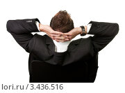 Купить «Вид со спины на мужчину с руками, заложенными за голову», фото № 3436516, снято 13 ноября 2010 г. (c) Андрей Попов / Фотобанк Лори