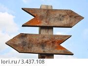 Купить «Две деревянные стрелки на фоне неба», фото № 3437108, снято 3 июля 2008 г. (c) katalinks / Фотобанк Лори