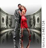 Купить «Успешные влюбленные на фоне стодолларовой купюры», фото № 3443124, снято 16 октября 2019 г. (c) Эдуард Стельмах / Фотобанк Лори