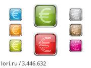 Купить «Разноцветные кнопки с символом евро», иллюстрация № 3446632 (c) Лагутин Сергей / Фотобанк Лори