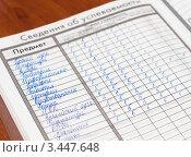 Купить «Страница школьного дневника с отличными оценками за год», эксклюзивное фото № 3447648, снято 12 апреля 2012 г. (c) Игорь Низов / Фотобанк Лори