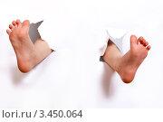 Ноги торчат в разрывах белой бумаги. Стоковое фото, фотограф Емельянова Карина / Фотобанк Лори