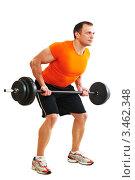Купить «Бодибилдер в оранжевой футболке делает упражнение с штангой», фото № 3462348, снято 23 марта 2012 г. (c) Дмитрий Калиновский / Фотобанк Лори