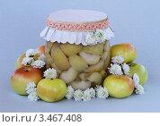 Купить «Яблоки дольками в сладком сиропе», фото № 3467408, снято 18 апреля 2012 г. (c) Чукова Жанна / Фотобанк Лори