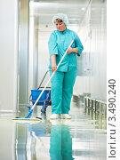 Купить «Женщина моет пол в госпитале», фото № 3490240, снято 3 мая 2012 г. (c) Дмитрий Калиновский / Фотобанк Лори