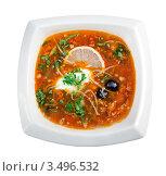 Купить «Суп солянка», фото № 3496532, снято 1 ноября 2011 г. (c) Александр Fanfo / Фотобанк Лори