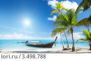 Купить «Тропический пейзаж с морем, лодкой и пальмами», фото № 3498788, снято 11 ноября 2009 г. (c) Iakov Kalinin / Фотобанк Лори