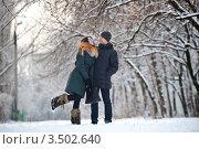 Влюбленная пара в зимнем парке. Стоковое фото, фотограф Хромушин Тарас / Фотобанк Лори