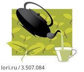 Зеленый чай. Стоковая иллюстрация, иллюстратор Александр Гречин / Фотобанк Лори