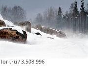 Купить «Зимняя непогода в Карелии на берегу заснеженного озера», фото № 3508996, снято 9 марта 2012 г. (c) Fro / Фотобанк Лори