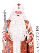 Купить «Портрет Деда Мороза в красном кафтане с посохом в руке», фото № 3513104, снято 28 ноября 2010 г. (c) Сергей Сухоруков / Фотобанк Лори
