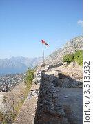 Купить «Крепостная стена Котора и Флаг Черногории», фото № 3513932, снято 4 октября 2011 г. (c) Шейнина Ольга / Фотобанк Лори