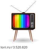 Старый телевизор с цветной настроечной рамкой. Стоковая иллюстрация, иллюстратор Dvarg / Фотобанк Лори