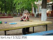 Купить «Ожидание. Мальчик в детском саду ждет родителей», фото № 3522956, снято 17 мая 2012 г. (c) Оксана Лычева / Фотобанк Лори