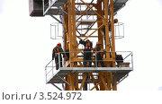 Купить «Строители на подъемном кране», видеоролик № 3524972, снято 10 июля 2008 г. (c) Losevsky Pavel / Фотобанк Лори