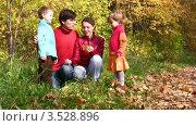 Купить «Семья с двумя детьми изучает что-то в осеннем лесу», видеоролик № 3528896, снято 7 октября 2008 г. (c) Losevsky Pavel / Фотобанк Лори