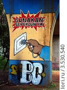 Купить «Граффити на опоре железнодорожного моста в Джакарте, Индонезия», фото № 3530540, снято 13 апреля 2012 г. (c) Светлана Колобова / Фотобанк Лори