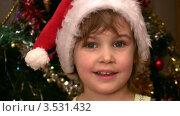 Купить «Маленькая девочка на фоне новогодней елки в колпаке Санты-Клауса», видеоролик № 3531432, снято 17 января 2009 г. (c) Losevsky Pavel / Фотобанк Лори