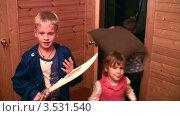 Купить «Играющие дети, два варианта выхода из комнаты», видеоролик № 3531540, снято 17 января 2009 г. (c) Losevsky Pavel / Фотобанк Лори