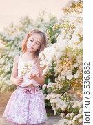 Купить «Шестилетняя  девочка на фоне цветущей спиреи», фото № 3536832, снято 22 мая 2012 г. (c) Майя Крученкова / Фотобанк Лори