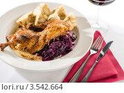 Купить «Жареная утка с капустой и клецками», фото № 3542664, снято 17 апреля 2012 г. (c) CandyBox Images / Фотобанк Лори