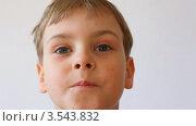 Купить «Мальчик смотрит на что-то на сером фоне», видеоролик № 3543832, снято 26 августа 2009 г. (c) Losevsky Pavel / Фотобанк Лори