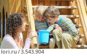 Купить «Мама с детьми рассматривают что-то в пластиковом ведерке», видеоролик № 3543904, снято 11 сентября 2009 г. (c) Losevsky Pavel / Фотобанк Лори