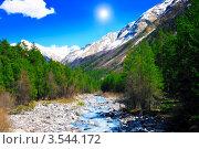 Купить «Вид на горы и горную реку Баксан в солнечный день», фото № 3544172, снято 26 апреля 2012 г. (c) Vitas / Фотобанк Лори