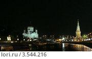 Храм Христа Спасителя ночью. Стоковое видео, видеограф Андрей Леонидов / Фотобанк Лори