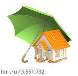 Купить «Домик под зонтом», иллюстрация № 3551732 (c) Лукиянова Наталья / Фотобанк Лори