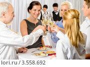 Купить «Коллеги произносят тост», фото № 3558692, снято 15 апреля 2012 г. (c) CandyBox Images / Фотобанк Лори