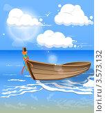 Синее море уходящее в горизонт с лодкой на волнах. Стоковая иллюстрация, иллюстратор Виталий / Фотобанк Лори