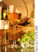 Купить «Композиция с бокалом белого вина, корзиной, виноградом и кусочками льда», фото № 3579388, снято 14 мая 2012 г. (c) Виктор Топорков / Фотобанк Лори