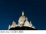 Купить «Базилика Святого Сердца (Le Sacre-Coeur) ночью в Париже», фото № 3581800, снято 2 сентября 2011 г. (c) Константин Ёлшин / Фотобанк Лори