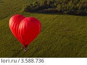 Полет воздушного аэростата в форме Сердца над лесом. Стоковое фото, фотограф Моисеева Ирина / Фотобанк Лори