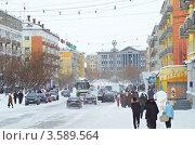 Улица Ленина зимой в Воркуте (2012 год). Редакционное фото, фотограф Александр Брезденюк / Фотобанк Лори
