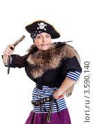 Девушка в костюме пирата на белом фоне. Стоковое фото, фотограф Евгений Ковылин / Фотобанк Лори